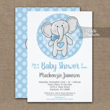 Cute Blue Elephant Boys Baby Shower Invitation PRINTED