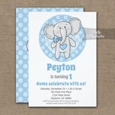 Cute Blue Elephant Boys Birthday Invitation PRINTED