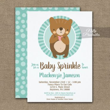 Cute Brown Bear Baby Sprinkle Invitation Neutral PRINTED