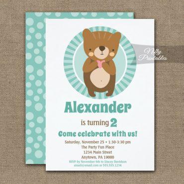 Cute Brown Bear Heart Birthday Invitation Boy Girl PRINTED