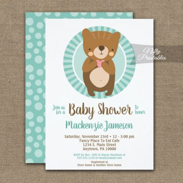 Cute Brown Bear Neutral Baby Shower Invitation PRINTED
