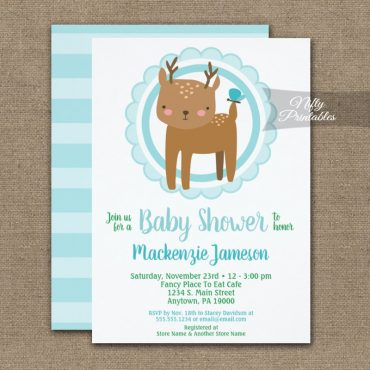 Cute Deer Boys Baby Shower Invitations Blue PRINTED