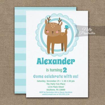 Cute Deer Butterfly Toddler Birthday Invitations PRINTED