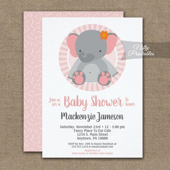 Cute Elephant Pink Girls Baby Shower Invitation PRINTED