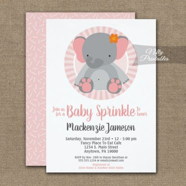 Cute Elephant Pink Girls Baby Sprinkle Invitations PRINTED