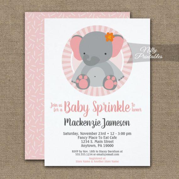 Cute Elephant Pink Girls Baby Sprinkle Invitation PRINTED
