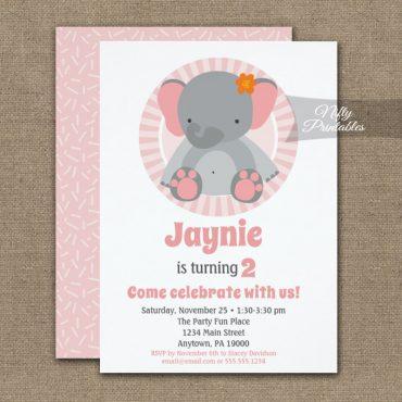 Cute Elephant Pink Girls Birthday Invitation PRINTED