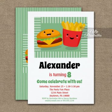Cute Fast Food Hamburger Fries Birthday Invitation PRINTED