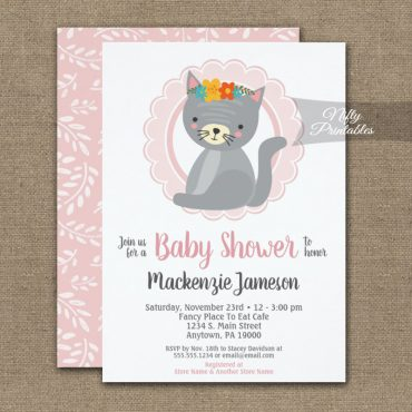 Cute Gray Kitten Pink Girls Baby Shower Invitation PRINTED