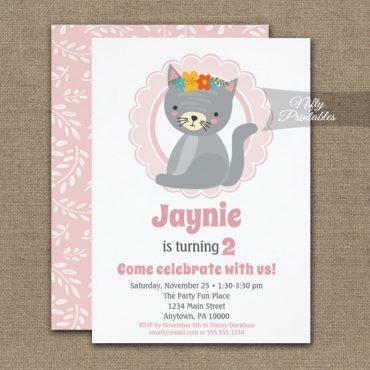 Cute Gray Kitten Pink Girls Birthday Invitations PRINTED