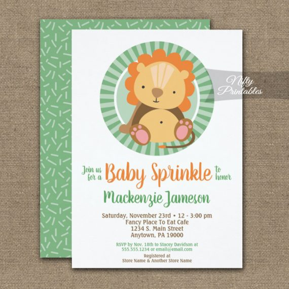 Cute Jungle Lion Baby Sprinkle Invitation Neutral PRINTED