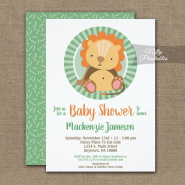 Cute Jungle Lion Neutral Baby Shower Invitations PRINTED