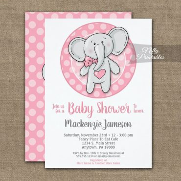 Cute Pink Elephant Girls Baby Shower Invitations PRINTED