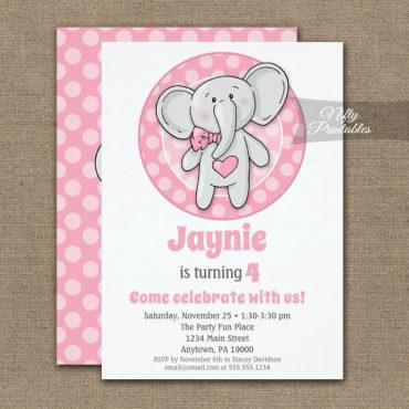 Cute Pink Elephant Girls Birthday Invitation PRINTED