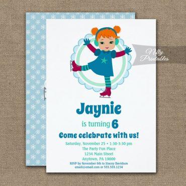 Cute Redhead Girls Ice Skating Birthday Invitation PRINTED