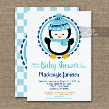 Cute Winter Penguin Baby Shower Invitation PRINTED