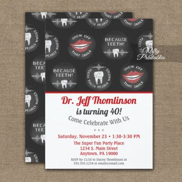 Dentist Birthday Invitations Chalk Dental Party PRINTED
