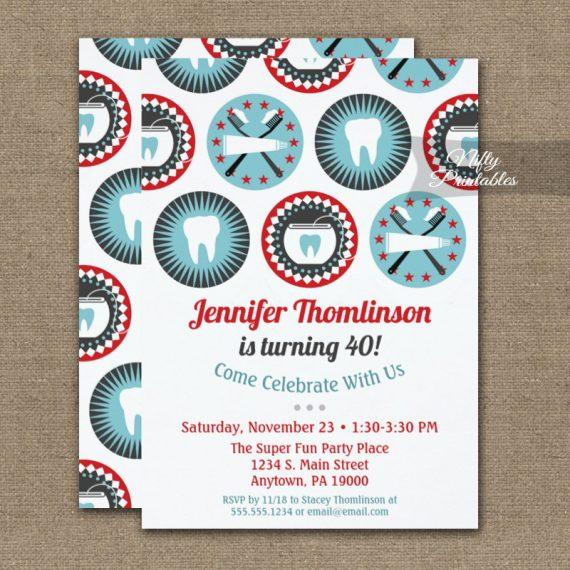 Dentist Birthday Invitation Dental Hygienist Party PRINTED