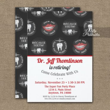 Dentist Retirement Invitations Chalkboard Dental PRINTED