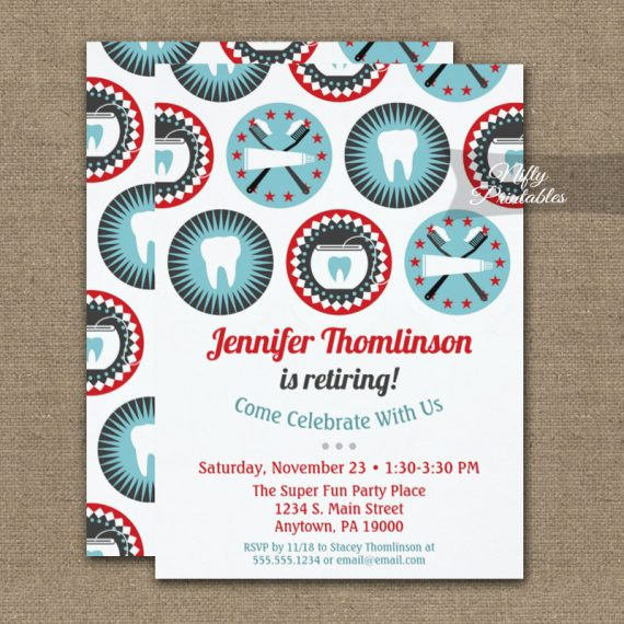 Dentist Retirement Invitation Dental Hygienist PRINTED