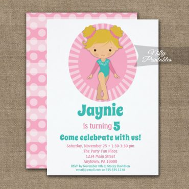 Gymnastics Blonde Pink Birthday Invitation PRINTED