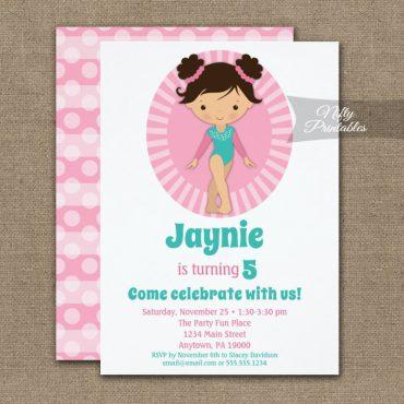 Gymnastics Brunette Pink Birthday Invitation PRINTED
