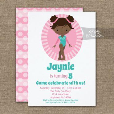 Gymnastics Cute African American Birthday Invitations PRINTED