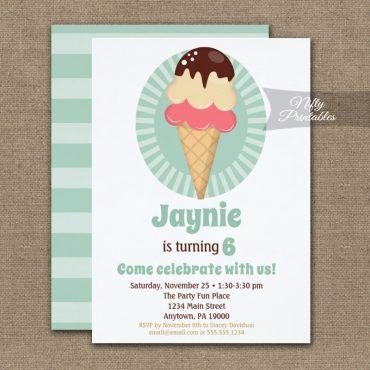 Ice Cream Cone Boys Girls Birthday Invitation PRINTED