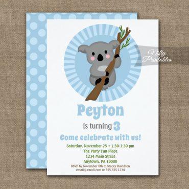 Koala Bear Blue Birthday Invitation PRINTED