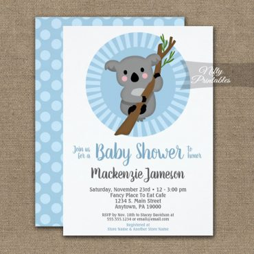 Koala Bear Blue Boys Baby Shower Invitations PRINTED