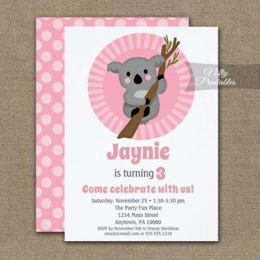 Koala Bear Pink Birthday Invitations PRINTED