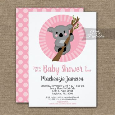 Koala Bear Pink Girls Baby Shower Invitation PRINTED