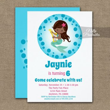 Mermaid Girl African American Birthday Invitation PRINTED
