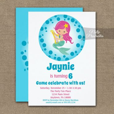 Mermaid Girl Pink Hair Birthday Invitation PRINTED