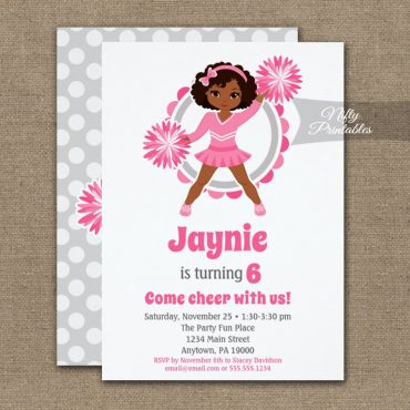 Pink Cheerleader African American Birthday Invitation PRINTED