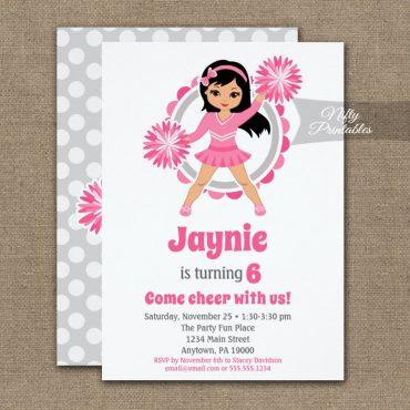 Pink Cheerleader Black Hair Birthday Invitation PRINTED