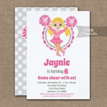 Pink Cheerleader Blonde Birthday Invitation PRINTED