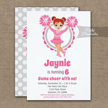 Pink Cheerleader Redhead Birthday Invitation PRINTED