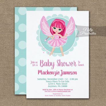 Pink Hair Fairy Baby Shower Invitations Girls PRINTED