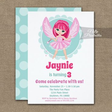 Pink Hair Fairy Cute Girls Birthday Invitation PRINTED
