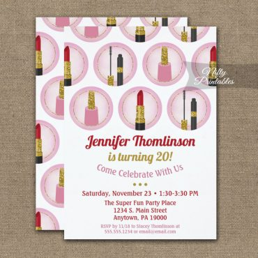 Pink Makeup Cosmetics Birthday Invitation Lipstick PRINTED
