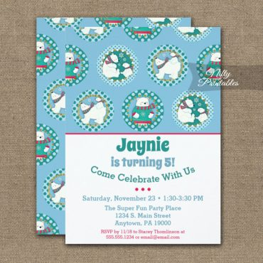 Polar Bear Birthday Invitation Winter Party PRINTED