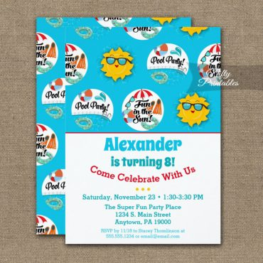 Pool Party Birthday Invitation Swimming Summer PRINTED