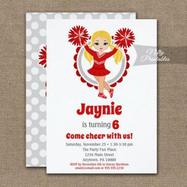 Red Cheerleader Blonde Birthday Invitation PRINTED