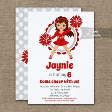 Red Cheerleader Brunette Birthday Invitation PRINTED