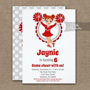 Red Cheerleader Redhead Birthday Invitations PRINTED