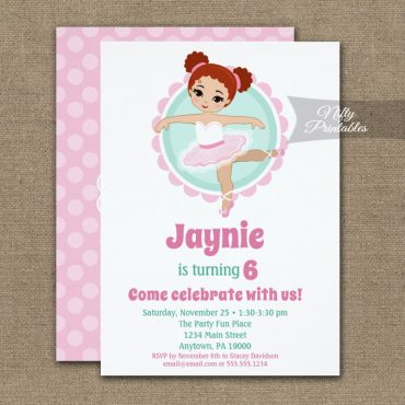 Redhead Ballerina Birthday Invitation PRINTED