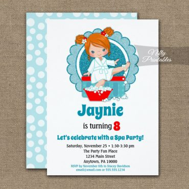 Redhead Spa Party Girls Birthday Invitations PRINTED