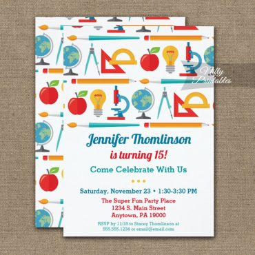 School Theme Birthday Invitation Education Teacher PRINTED