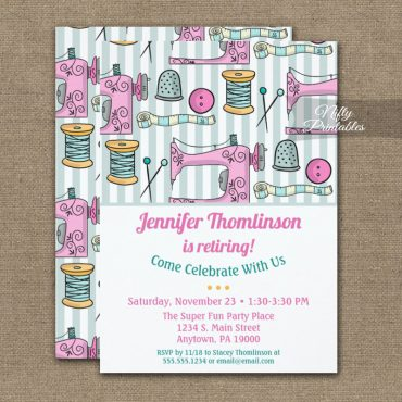Sewing Retirement Party Invitations Pink PRINTED